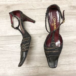 CHANEL Tweed Strappy Pumps Black and Tan Size 40